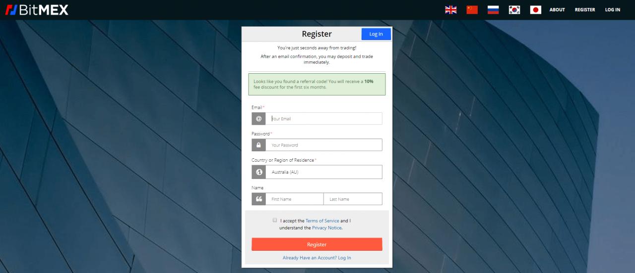 Bitmex register