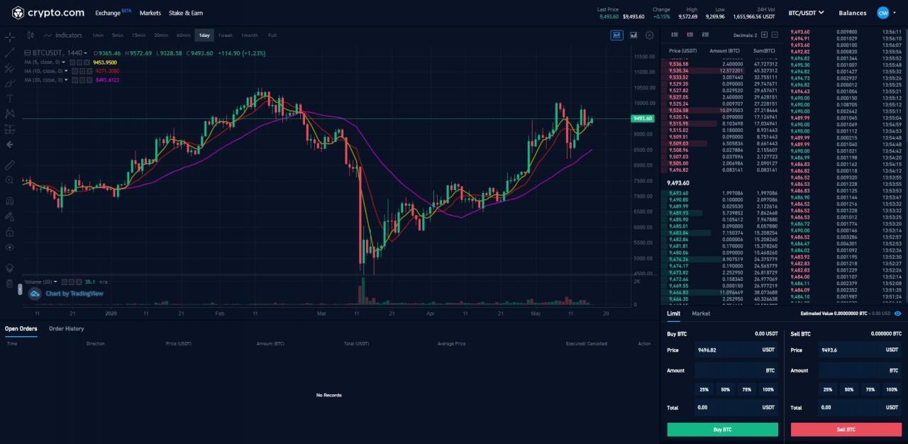 crypto.com user interface